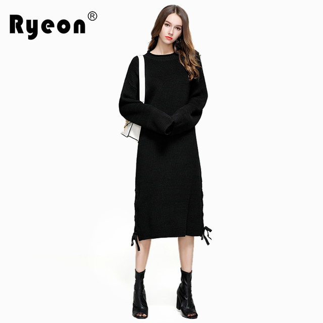 4eaa02c553cb Ryeon Over Sized Sweater Dress Autumn Winter Women Sexy Lace Up O Neck Long  Sleeve Midi Dresses Big Size Casual Sweater Dresses