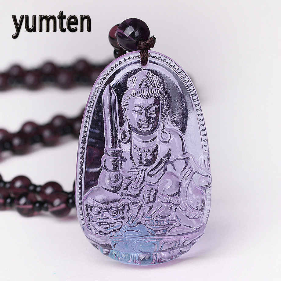 Crystal Eight Patron Saint Buddha Pendant Necklace Male and Female Wicca Natural Crystal Pendants Amulet Grinch Trendy Jewelry