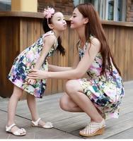 Hot Sale 2016 Summer Vest Dress Tide Korean Mother Daughter Dresses Wholesale Family Matching Clothes