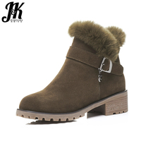 J & K 2017 הגעה לניו אבזם חורף מגפי שלג עור טבעי אישה נעלי נשות העקב מרובעות מגפי קרסול רצועת הוכחת החלקה Zip