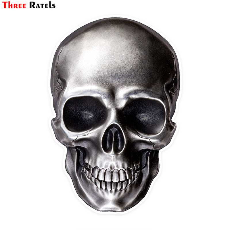Three Ratels LCS496# 9.5x14cm Bright Skull Colorful Car Stickers Funny Car Stickers Styling Removable Decal