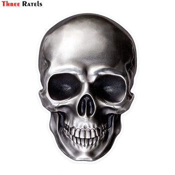 Three Ratels LCS496# 9.5x14cm Bright skull colorful car stickers funny car stickers styling removable decal rookie yearbook three stickers