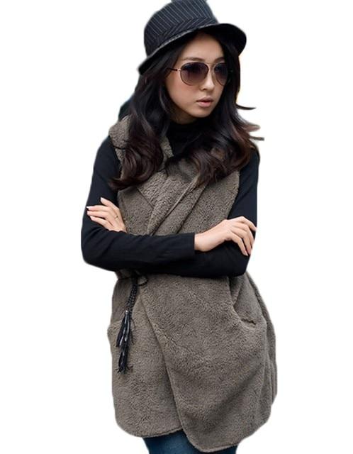 2017 New Lady Women Fashion Sleeveless O-Neck Casual Hoodie Long Vest Coat