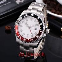 Top 40mm branco estéril dial safira vidro relogio masculino gmt vermelho preto moldura janela data relógio automático masculino