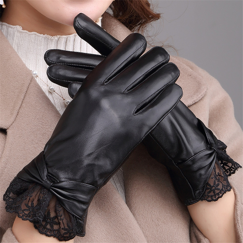 Fashion New Lace Leather Gloves Ladies Winter Plus Velvet Warm Sheepskin 1651-5