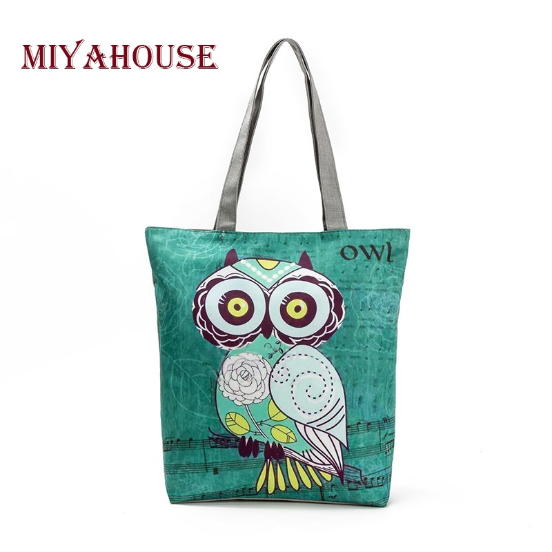 Miyahouse Cute Owl Printed Women's Casual Tote Large Capacity Canvas Female Shopping Bag Ladies Shoulder Handbag Beach Bag