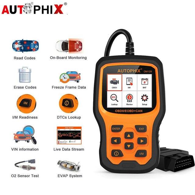 Autophix om129 obd2 scanner ler códigos de diagnóstico automático scanner verificar motor bateria carro código leitor obd ferramentas