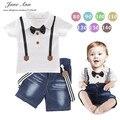 Детская одежда летом с коротким рукавом галстук-бабочку Футболка + ремень джинсы детские мальчиков повседневная одежда baby дети костюмы 2 шт. наряды