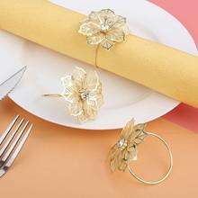 6Pcs West Dinner Towel Napkin Ring Table Decoration Serviette Rings 3D Flower Holder Party Wedding