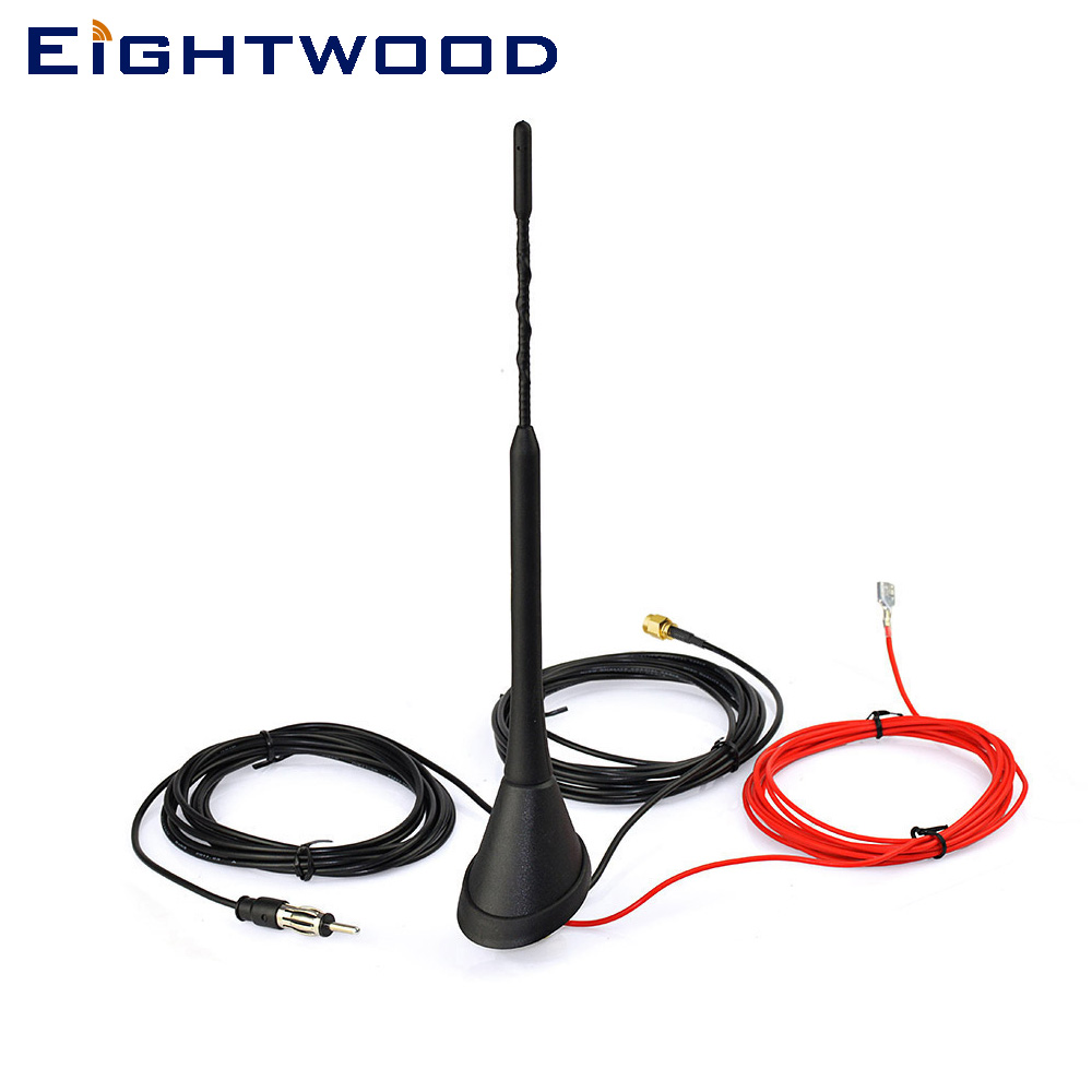 Eightwood Auto DAB Radio Aerial Amplified Roof Mount Antenna AM/FM Din SMA Male Connector 5m Cable for JVC Kenwood Pioneer