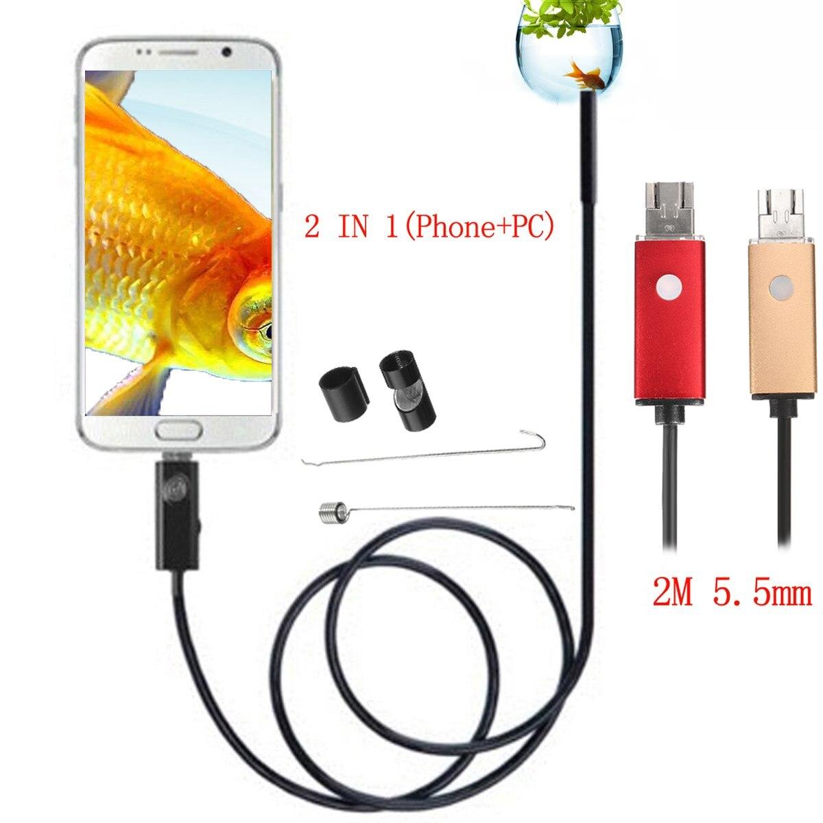 NEUE 2 In 1 2 mt 5,5mm 6 LED USB Endoskop Inspektion Kamera Wasserdicht Für Telefon PC Android Endoskop kamera