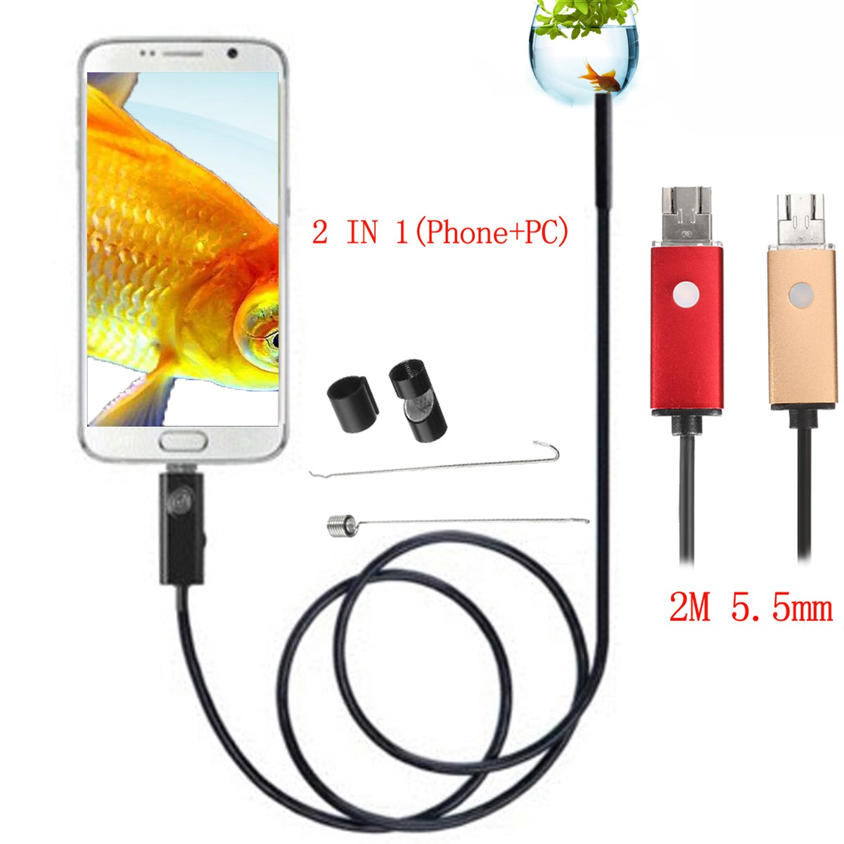 NEW 2 In 1 2M 5.5mm 6 LED USB Endoscope Inspection Camera Waterproof For Phone PC Android Borescope Camera автоинструменты new design autocom cdp 2014 2 3in1 led ds150