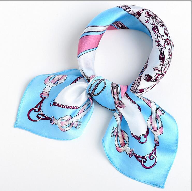 Foulard Femme satin bandana loop Neck Scarf Kerchief Small Square 100%Silk Scarf Women Oil Painting Desigual 53*53CM