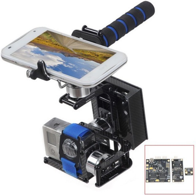 2014 Newest 3-Axis Handheld Brushless Gimbal Self-Stabilization FPV Camera Mount Complete Set for Gopro Hero 2 3+free shipping dji phantom 2 build in naza gps with zenmuse h3 3d 3 axis gimbal for gopro hero 3 camera
