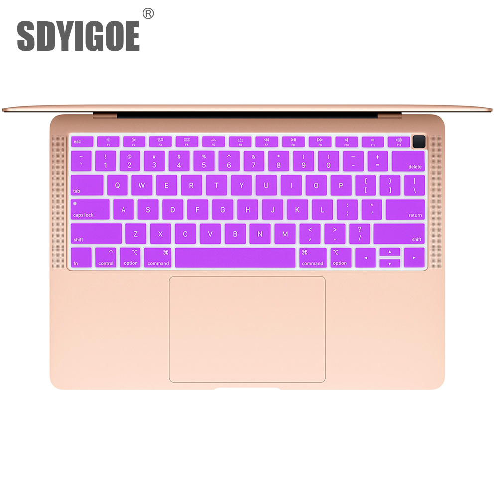 Dustproof Film Silicone Laptop Keyboard Protective Film Waterproof for MacBook air 13 A1932 Notebook Keyboard Cover 2020 Style-Lavender