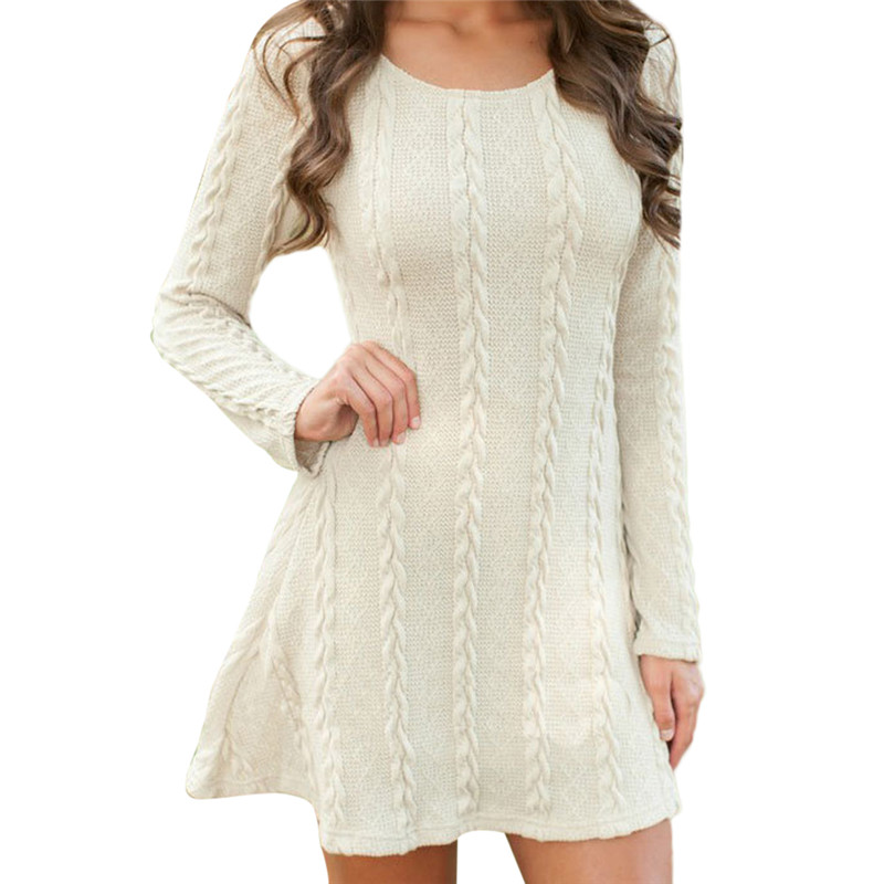 Фото Round Neck Ladies Sweater Dresses Cotton Knitted 2018 Summer Womens Mini Dresses Long Sleeve Party Dress Robe Longue Femme