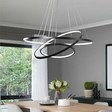 Modern Hanging ceiling lamp Pendant Lighting led Living Room Dining Room Circle Rings Acrylic Aluminum LED Ceiling Lamp Fixture modern pendant lights for living room dining room circle rings 3 rings 4 rings acrylic aluminum body led ceiling lamp fixtures