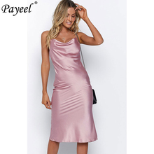 Women Casual Bodycon Dress Ladies Summer Satin Silk Vintage Solid Spaghetti Strap Slip Sundress Halter Elegant Midi Dresses 2019