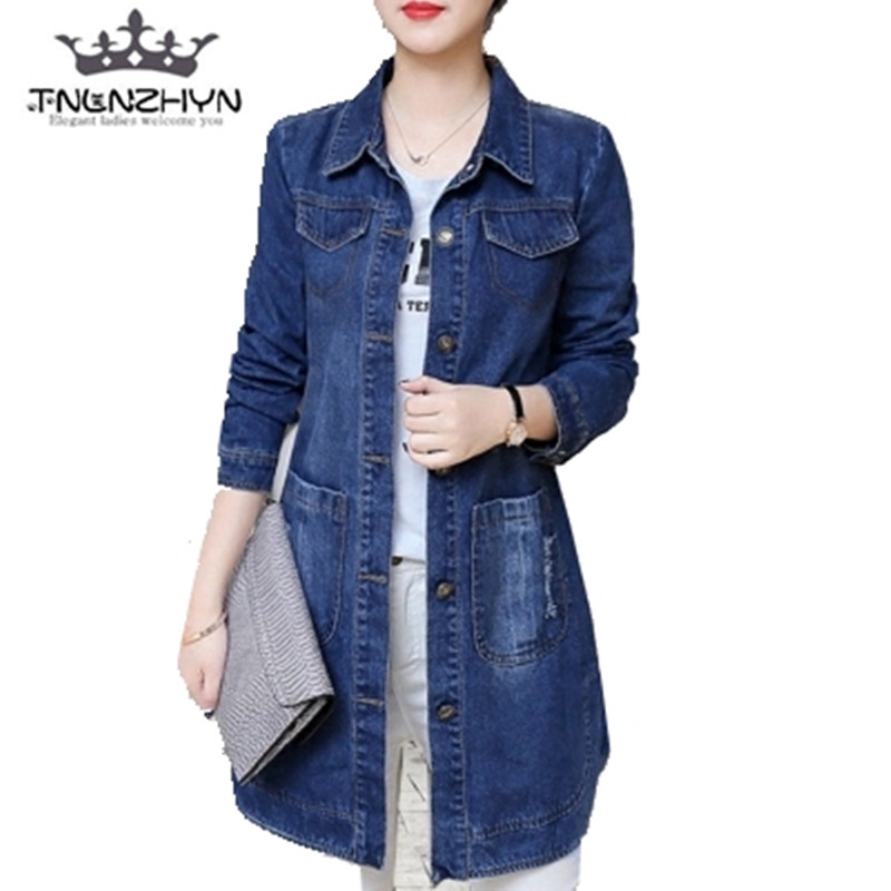Hot Sale Women Lady Casual Overcoat Long Trench Denim Jacket sigle breasted coat