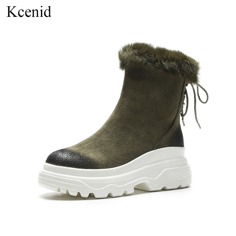 Kcenid High quality suede leather boots women warm plush snow boots women shoes 2018 winter flat platform fashion zipper shoesKcenid High quality suede leather boots women warm plush snow boots women shoes 2018 winter flat platform fashion zipper shoes