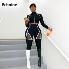 Tracksuit Woman Two Piece Set Sexy Crop Top Pencil Pants Mesh Patchwork Side Striped Sportswear Casual Bodycon running pants