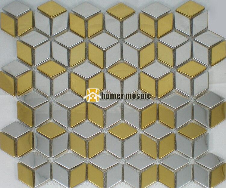 Gouden Mozaiek Tegels : Diamant vorm sparkly gouden gemengde zilver kleur rvs mozaïek