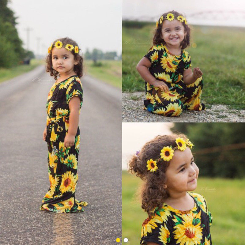 Summer Hot Toddler Kids Baby Girl Floral Sunflower   Romper   Jumpsuit Pants Outfits Clothes USA