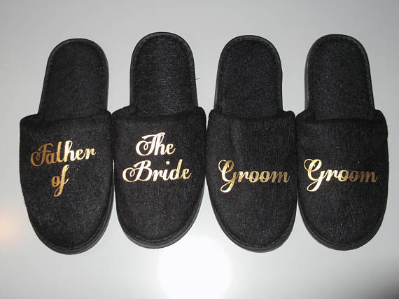 dd91f81f23790 Personalized black Groomsmen groom bestsman spa slippers wedding birthday  Bachelorette party favors company gifts