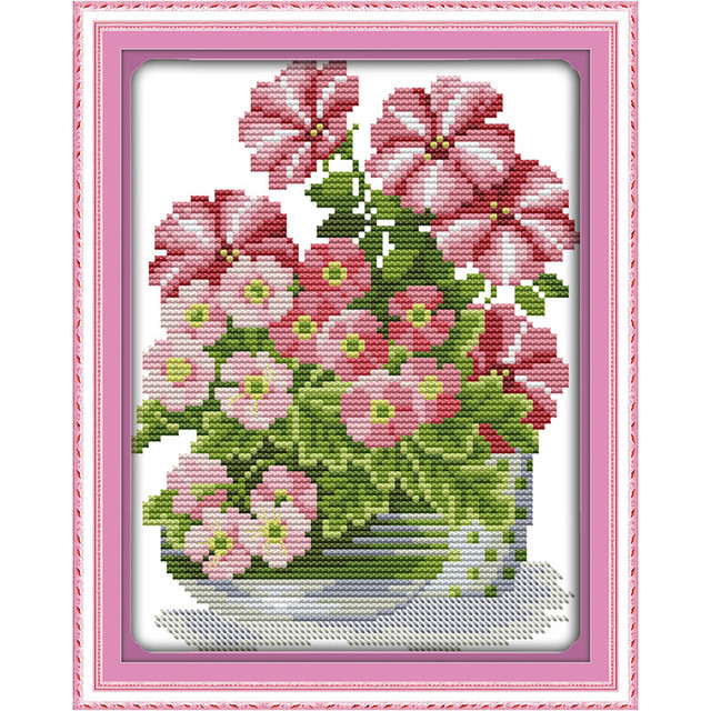 Cross Stitch Patterns Paintings Embroidery Kits Potted Pink Flower