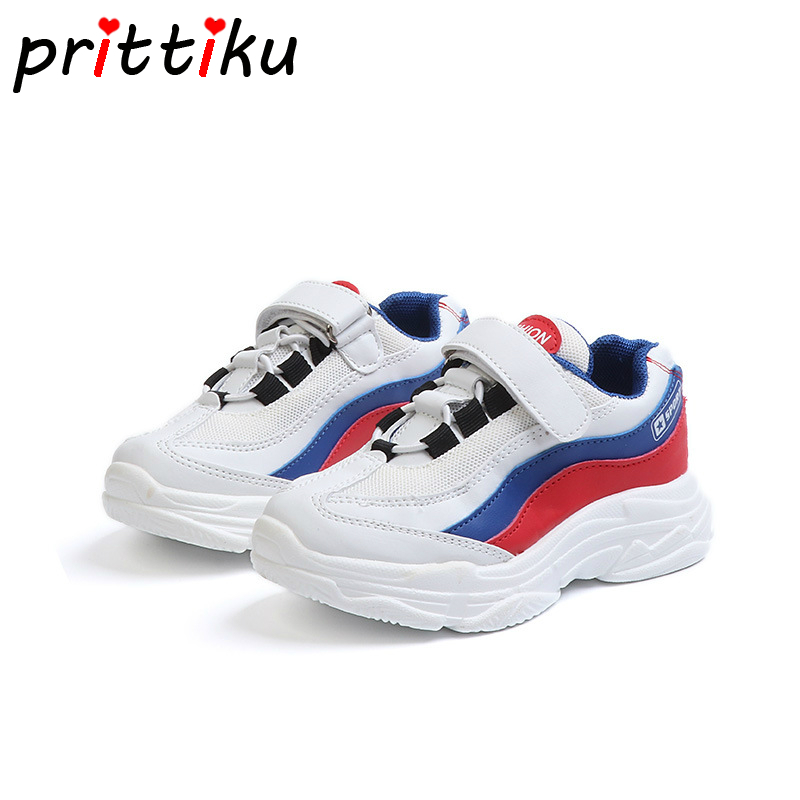 Autumn 2018 Toddler Boys Girls Genuine Leather Mesh Sneakers Little Kid Casual Sport Trainer Children Brand Fashion School Shoes