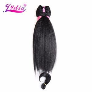 """Image 5 - Lydia For Women Kinky Straight 5PCS/Pack Synthetic Hair Extension 14""""16""""18"""" Hair  Weaving Kanekalon Pure Color Hair Bundles"""