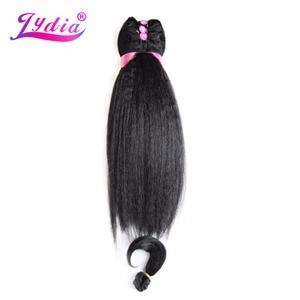 """Image 5 - Lydia kadınlar için Kinky düz 5 adet/paket sentetik saç uzatma 14 """"16"""" 18 """"saç dokuma Kanekalon saf renk saç demetleri"""