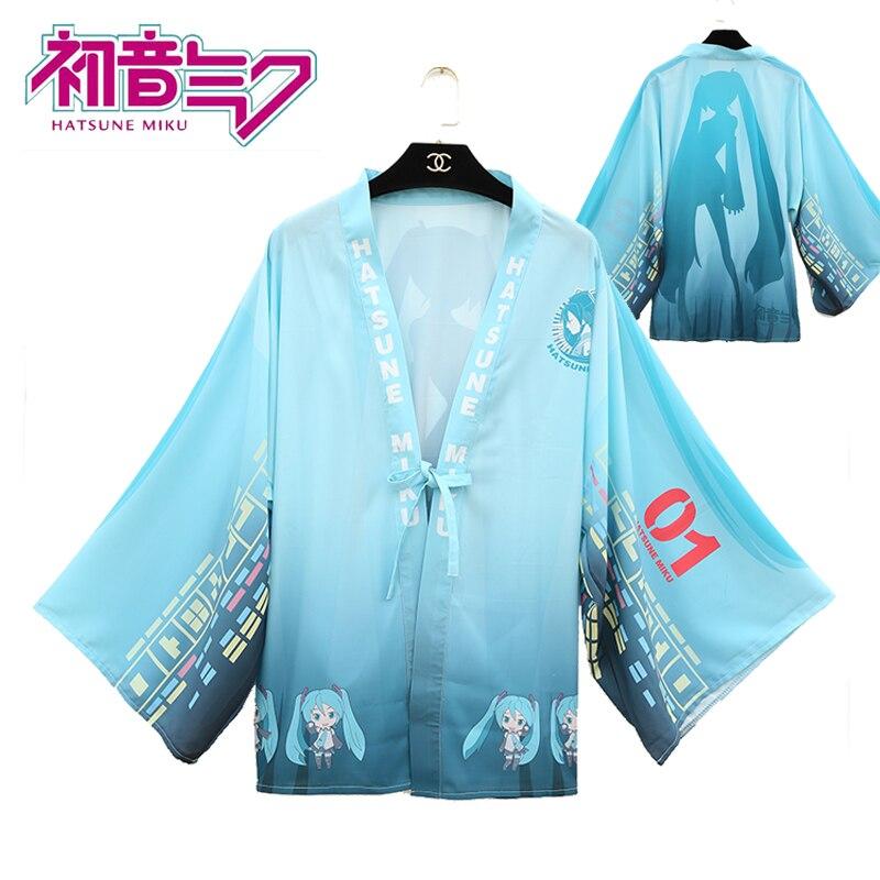Japanese Anime VOCALOID Hatsune Miku Cosplay Costumes Kimono Yukata Unisex Outerwear Chiffon Coat Daily Haori