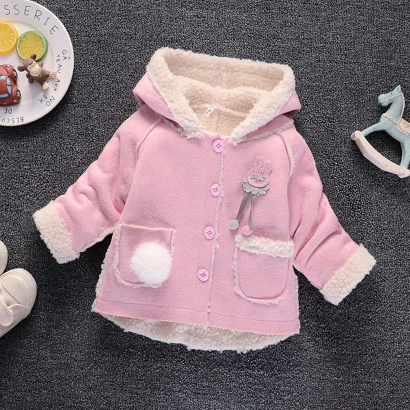 BibiCola infant baby girls jackets fashion bebe cartoon fur hoodies outwear toddler children clothing baby sport jackets coats