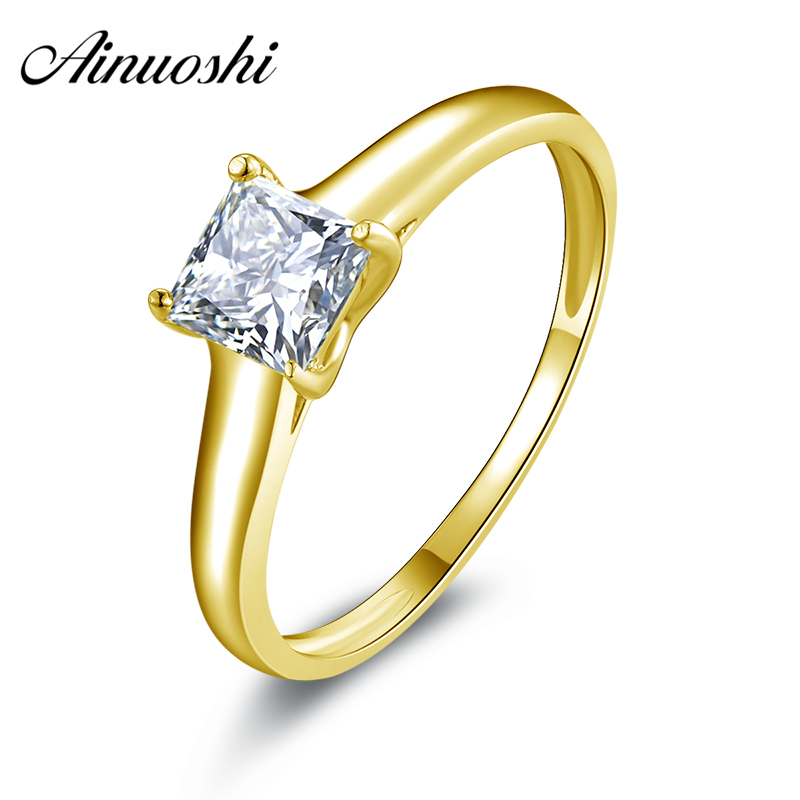 AINUOSHI 10k Solid Yellow Gold Women Wedding Ring Brilliant Solitaire Princess Simulated Diamond Anillos 0.63 ct Engagement Ring ainuoshi 10k solid yellow gold wedding ring 1 25 ct solitaire simulated diamond anelli donna brilliant proposal rings for women