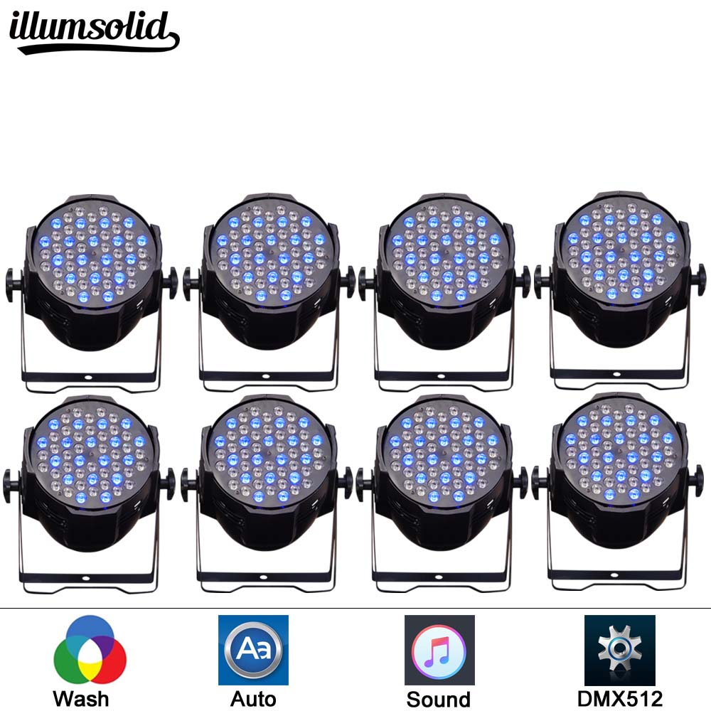 8pcs/lot Sound-Active 54X3W RGBW LED PAR Light PAR 64 Can for Stage DJ Dance Lights with aluminum housing8pcs/lot Sound-Active 54X3W RGBW LED PAR Light PAR 64 Can for Stage DJ Dance Lights with aluminum housing