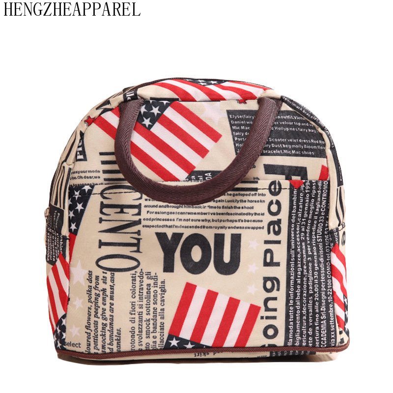 2018 New Canvas Flower Heart Dot Grid Stips Flag Leaf Design Colorful Portable Food Lunch Bag Family Picnic Lady S Bags In From Luggage