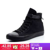 Spring summer 2018 men canvas shoes leisure all black high top shoe man fashion color hight cut footwear black free shipping