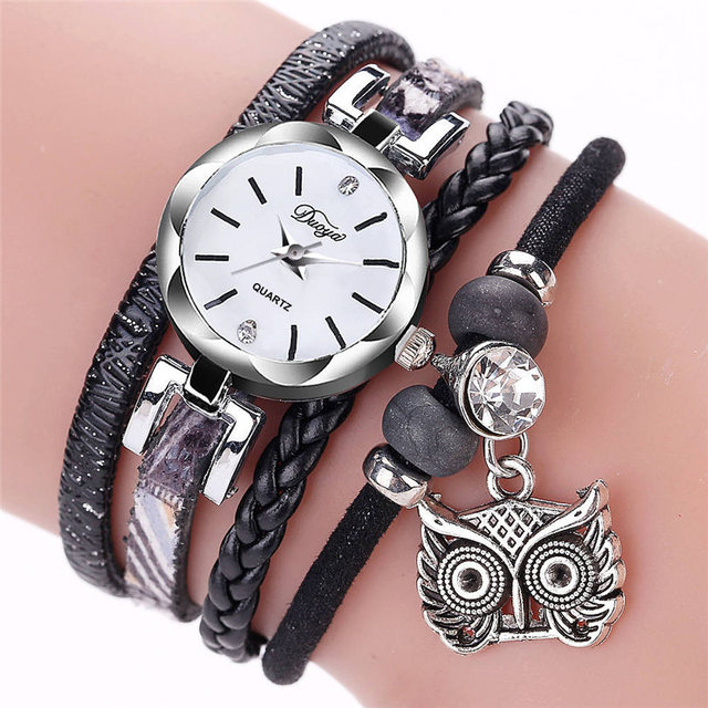DUOYA Fashion Women Dress Watches Fine PU Leather Bracelet Winding Owl Analog Mo