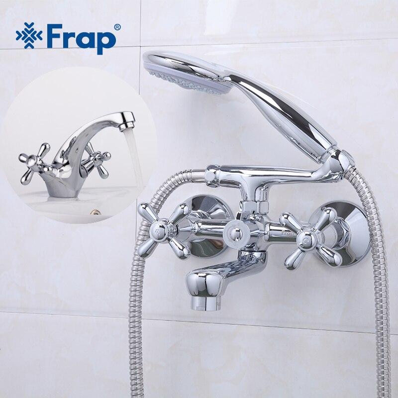 Frap Shower Bath Faucet Cold and Hot Water Mixer Silver Bathroom Basin Faucet Mixer Double HandleBathroom