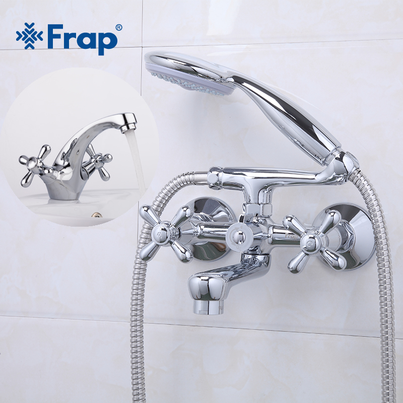 Frap Shower Bath Faucet Cold and Hot Water Mixer 180 Degree Rotating Silver Bathroom Basin Faucet Mixer Double HandleF3025+F1025