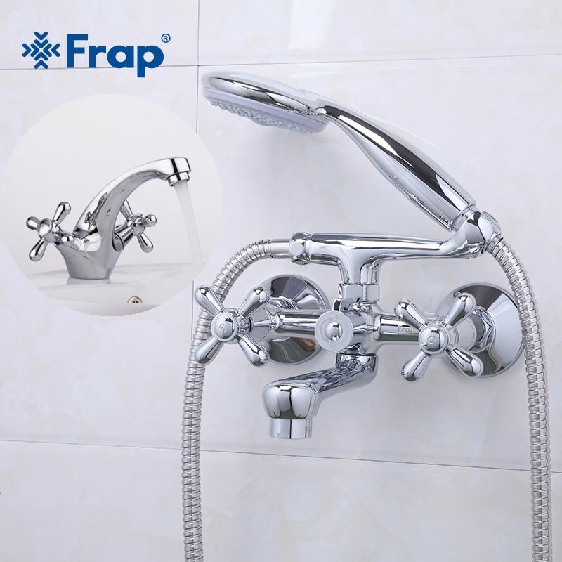Frap Shower Bath Faucet Cold and Hot Water Mixer 180 Degree Rotating Silver Bathroom Basin Faucet Mixer Double HandleF3025+F1025 смеситель frap f1025