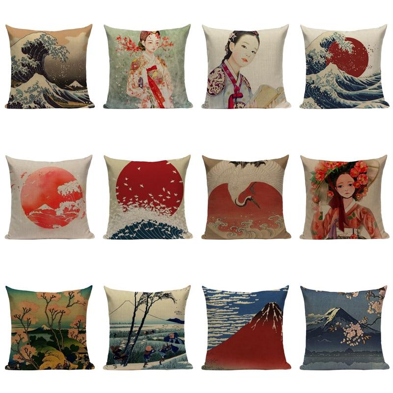 Vintage poisson Conque impression Coton Lin Taie d/'oreiller Housse Home Decor