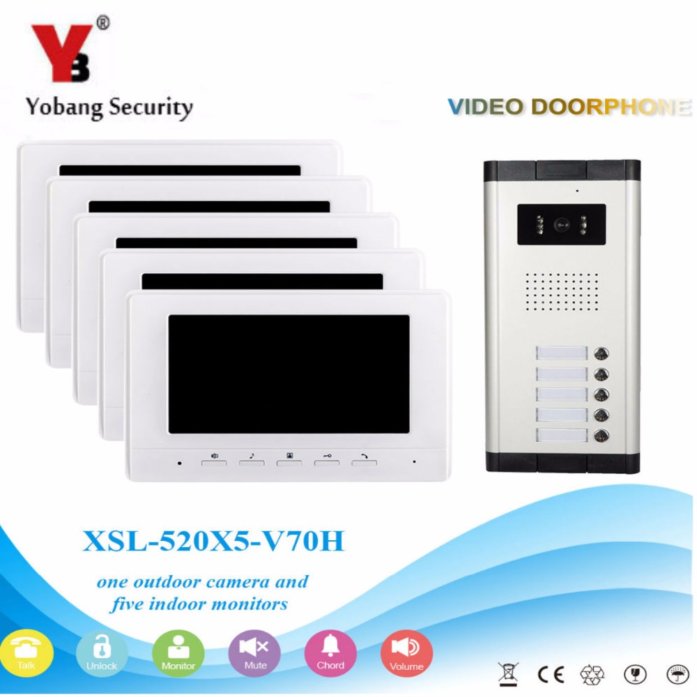 YobangSecurity Video Door Intercom 7 Inch Monitor Wired Video Doorbell Door Phone Intercom 1 Camera 5 Monitor System Kit 3v3 7 inch monitor water proof ip66 wired intercom video door phone