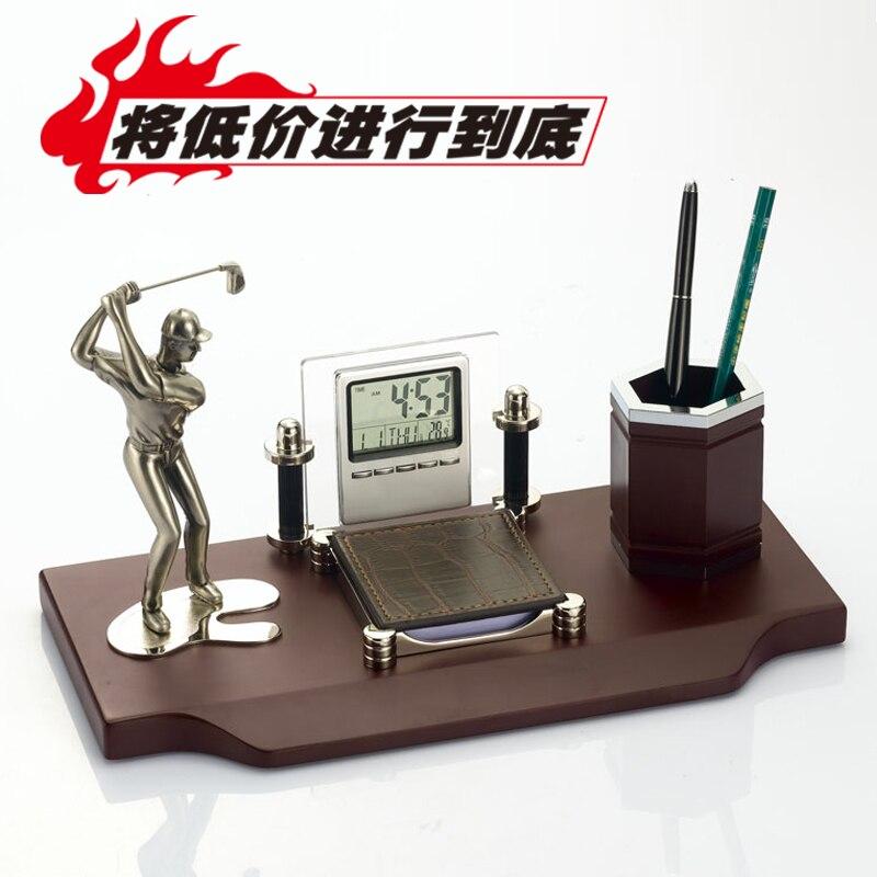 Golfer statue métal et horloge porte-stylo bureau cadeau décoration
