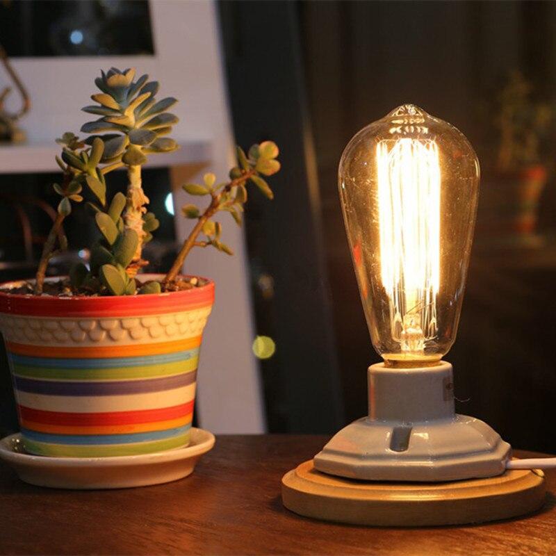 Настольный Настольная лампа белый с натуральным деревом Лампа Эдисона 40W с высоким винтажным цоколем и регулятором светильник новогодние у...