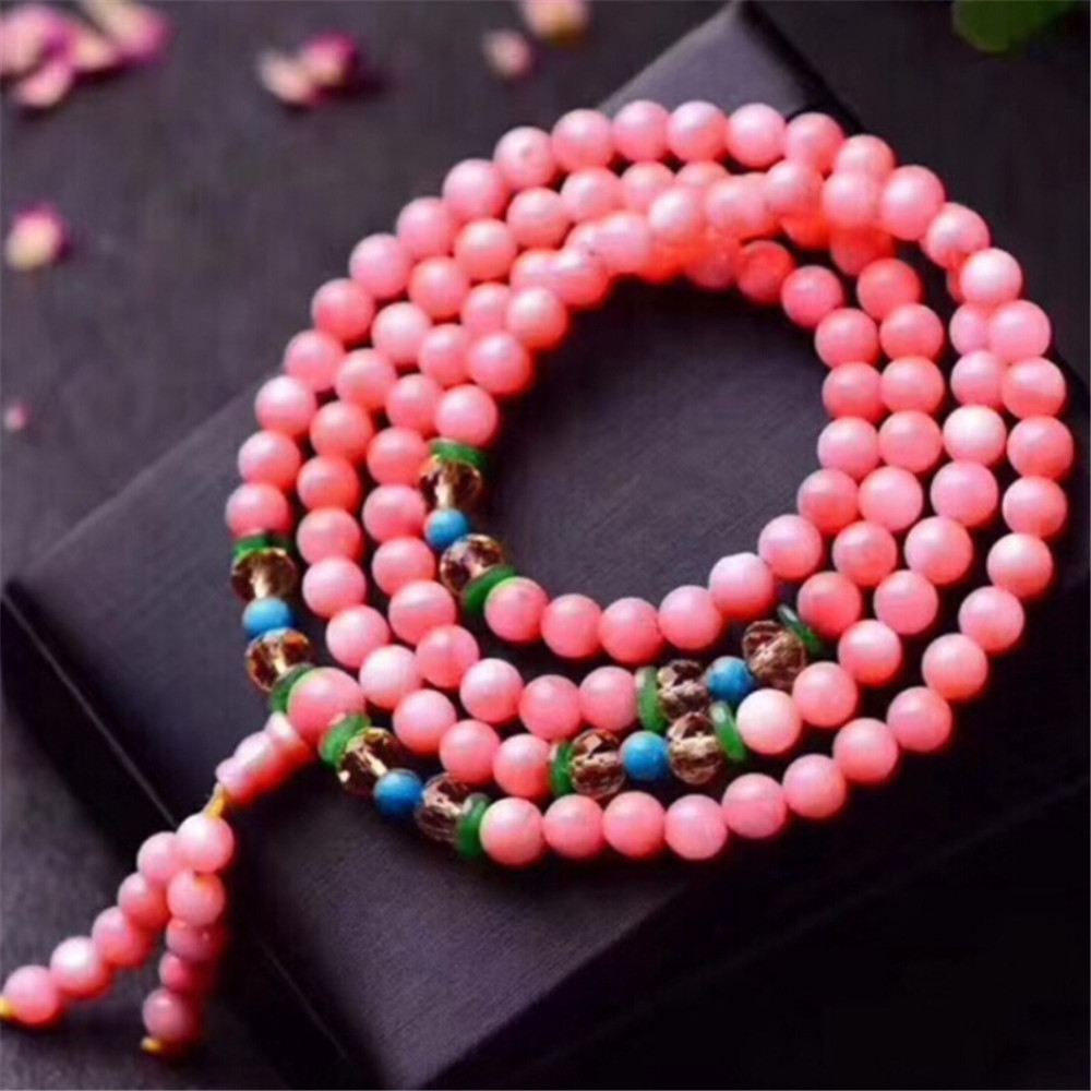 Fashion Natural Pink Shell 6mm Round Beads Multi Circle Female Bracelet & Yellow Crystal Bead Accessories Hand String Wholesale