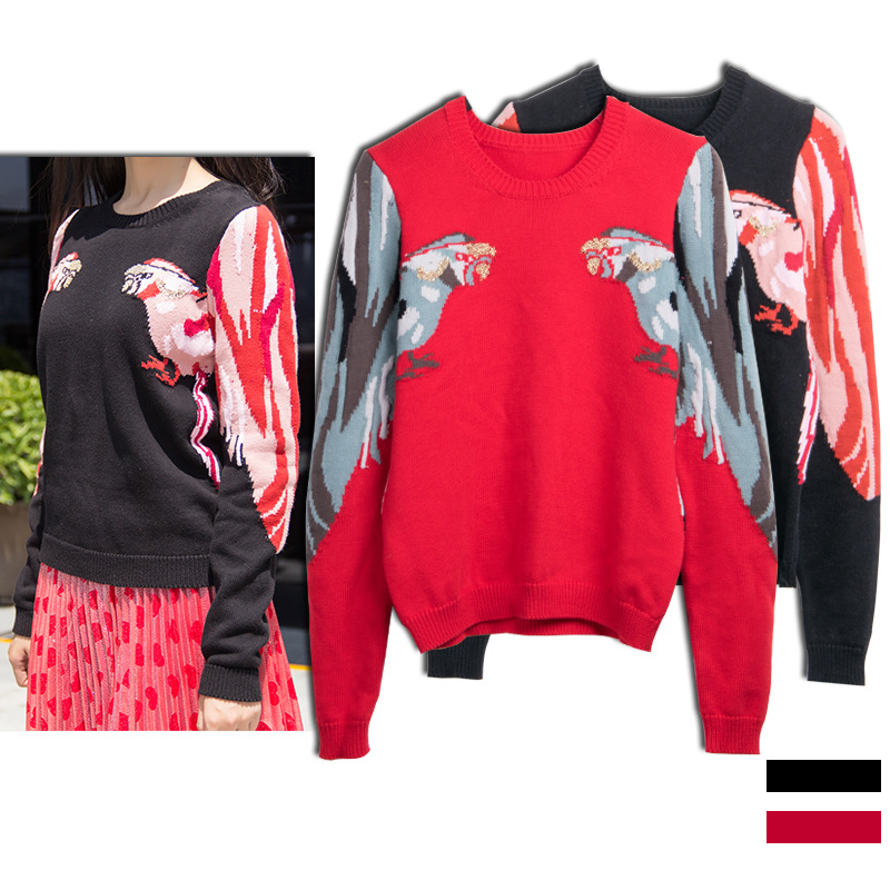 Ecombird 2017 Fashion Runway Designer Autumn Winter Sweater Women Casual O Neck Long Sleeve Parrot Knitted Pullovers Sweater