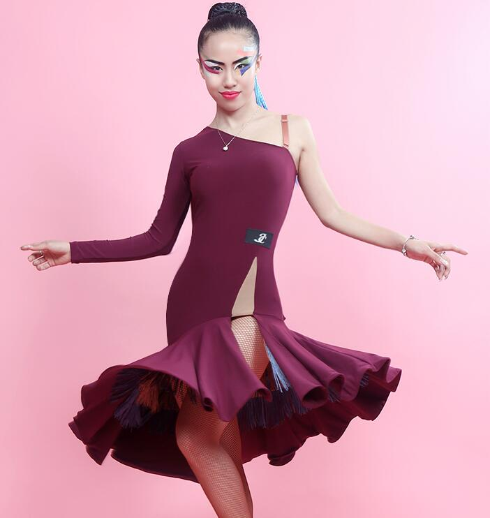 New Latin Dance Dress Women Long Sleeve Lady Sexy Costumes Salsa Dance Dresses Performance Practice Wear wine red grey black