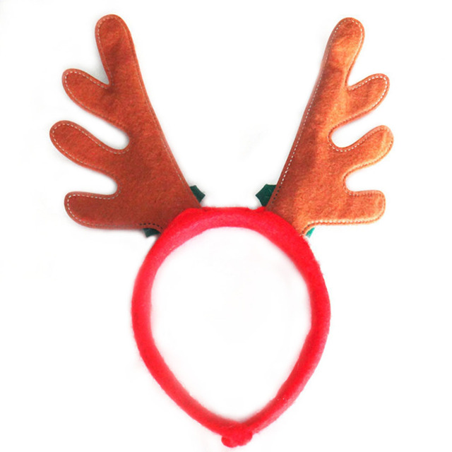 da23afadbf8c8 1 Pcs Lovely Christmas Hair Hoop Santa Reindeer Antler Hat Deer Horn Floral  Bell Christmas Hair